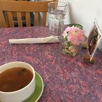 Casual table setting. Soup included on weekday special