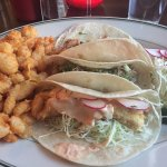 Taco platter with beer-battered cheese curds