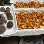 Culinary creations with black truffles and chanterelles.