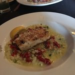 Halibut with Sun dried tomatoes and Asparagus tip risotto