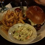 burger with coleslaw and fries