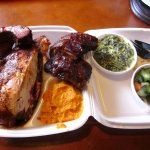 half-chick & ribs w/ mashed sweets, creamed spinach & tomato salad