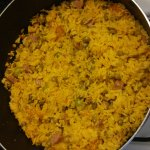 This is what a pot of rice with gandules should look like ( homemade ) The rice we ordered at mo