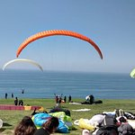 Watching the colorful paragliders!