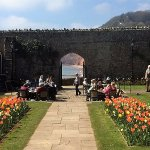 Beautiful view of the sea through arched gateway at Clock Tower Tea Room