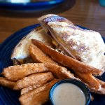 Bologna sandwich with sweet potato fries