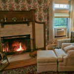 Cozy Wood Fireplace in Mansion Room 2, The Railroad Baron.