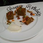 Birthday dessert of a very special carrot cake
