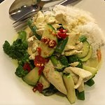 Green Curry Chicken, spicy.