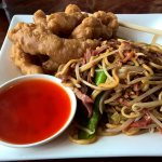 Mar far (sesame) chicken and BBQ pork lo mein lunch special.