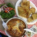 3 large stuffed shells, side salad and garlic bread for 1 under $10.