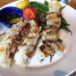 A perfect meal. Grilled Maine lobster tail. Grilled sea scallops. Fresh roasted green beans!