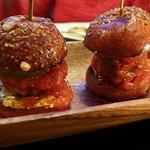 amb Meatball Sliders — caprino & pickled cucumber