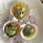 West fjords scallop ceviche w/ yuzu, chili, mint, orange