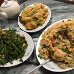Ginger Scallion Fish, Shrimp Fried Rice, String Bean Chicken