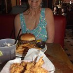 The burger is bigger than mom's face!