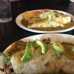 Veggie burrito (front) and chile verde burrito