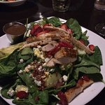 spinach salad with strawberries, chicken, blue cheese crumbles, avocado.  Terrific!