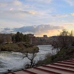 Spokane's Upper Falls just before sunset on a beautiful April evening from our table. . .