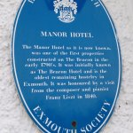 The blue heritage plaque for The Manor Hotel