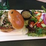Chicken burger with kale slaw and house salad