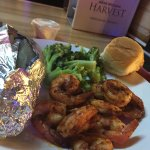 Grilled shrimp and grilled chicken