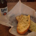garlic bread and beer