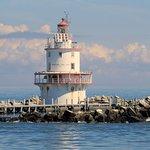 Brandywine Shoal Lighthouse in Delaware Bay. Taken aboard the Cape May Whale Watcher
