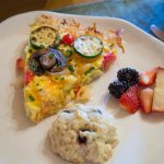 Teton View Breakfast Pizza with hash brown crust, blueberry scone