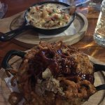 Pulled pork Bbq Mac and cheese with Seafood chowder