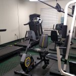 Fitness room is small, but gets the job done. You have to go outside by the pool to get to it.