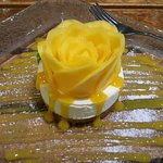 Mango cheesecake. This dessert tastes as good as it looks.