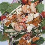 Roast pumpkin salad with prawns