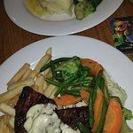 Crusted Salmon. 300g Rump Steak.