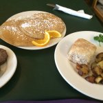 Honey wheat pancakes, sausage, home fries, biscuit 9/12/2014