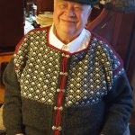 Hand knit Norwegian Viking ski sweater.