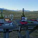 No better place to enjoy a glass of NZ wine. Picnic tables in front of Shearers lodge.