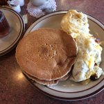Bacon and cheese egg white omelet with pancakes