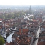 View of Bruges from the top of the Bell tower; 366 steps to the top, not for the feint hearted!