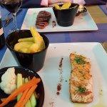 perfectly cooked salmon.eaten .al fresco!