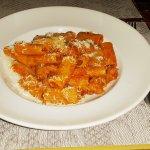 Rigatoni Nduja, Rigatoni with spicy Italian sausage and tomato sauce