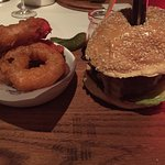 Burger and onion rings - with foie gras