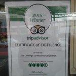 2015 Trip Advisor Certificate