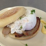 ...english muffin with poached egg and sausage!
