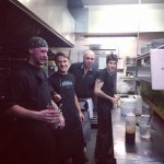 The friendly staff at The Springs restaurant. Left to right. Brandon, Josh, Desmond and Emilio #