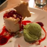 Cheesecake with strawberries and Thai basil sorbet