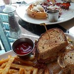 Ruben Sandwich and Blueberry Waffles at Collection Cafe