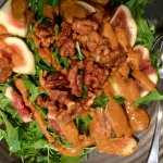 Rocket salad with figs, walnuts and some sauce that just didn't work