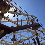 The excitement of a 3-story ropes course!