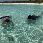 Husband and sister snorkeling